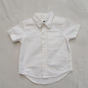 Toddler white short sleeve button collared shirt